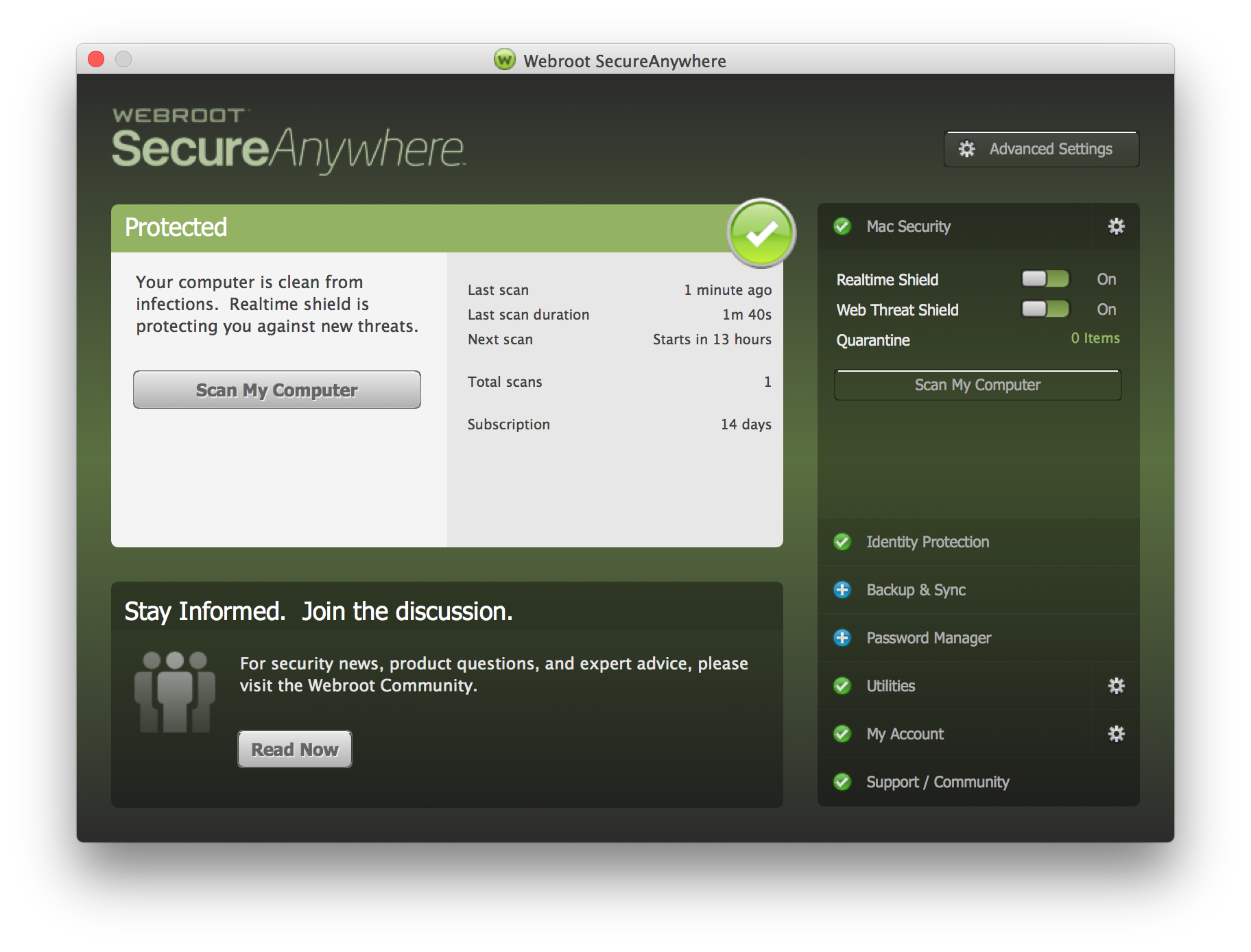 Webroot SecureAnywhere Internet Security for Mac