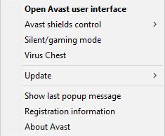 Avast Free Antivirus 11.1 - System Tray menu