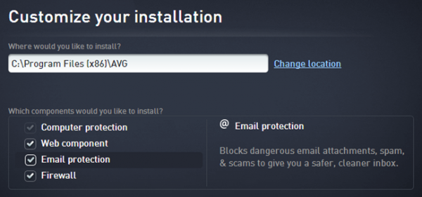 AVG Internet Security 2016 - Installation options