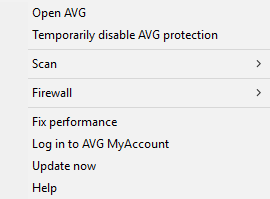 AVG Internet Security 2016 - System Tray menu