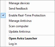 Avira Antivirus Pro 15.0 - System Tray menu