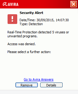 Avira Antivirus Pro 15.0 - Malware alert
