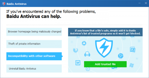 Baidu Antivirus 5.4.3 - Deinstallation prompt