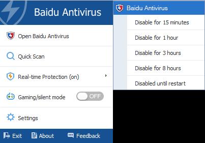 Baidu Antivirus 5.4.3 - System Tray menu