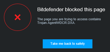 Bitdefender Internet Security 2016 - Malware alert