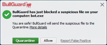 BullGuard Internet Security 15.1 - User-dependent malware alert