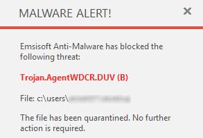 Emsisoft Anti-Malware 11.0 - Malware alert
