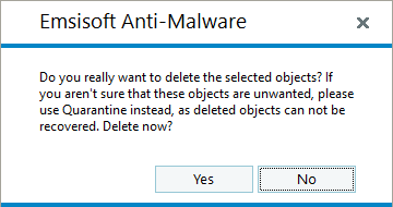 Emsisoft Anti-Malware 11.0 - Delete objects