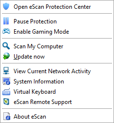 eScan Internet Security Suite 14.0 - System Tray menu