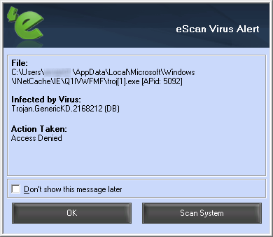 eScan Internet Security Suite 14.0 - Malware alert