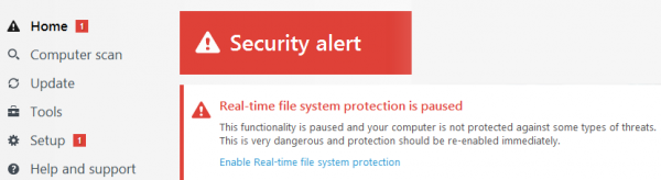 ESET Smart Security 9.0 - Status alert