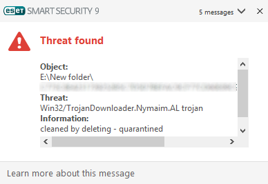 ESET Smart Security 9.0 - Malware alert