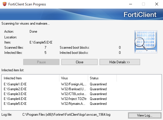 Fortinet FortiClient 5.2.4 (with FortiGate) - On-demand scan