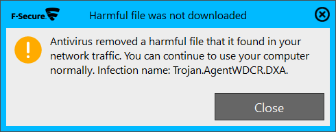 F-Secure Internet Security 16.0 - Malware alert