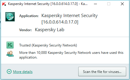 Kaspersky Internet Security 16.0 - Reputation information