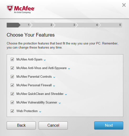 McAfee Internet Security 14.0 - Installation Options