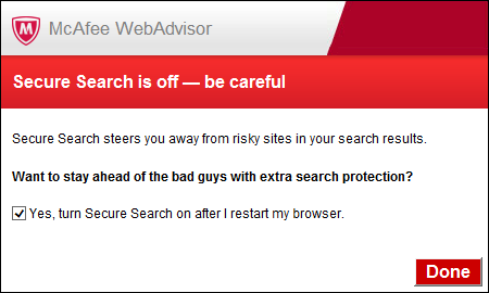 McAfee Internet Security 14.0 - Search service