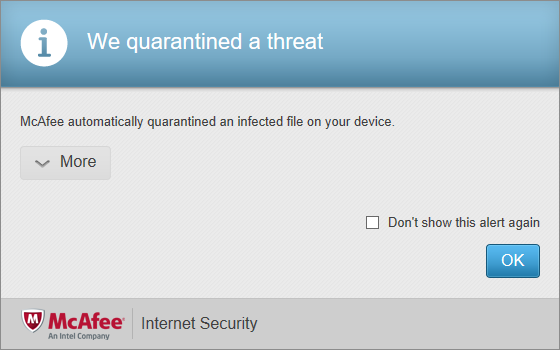 McAfee Internet Security 14.0 - Web malware alert