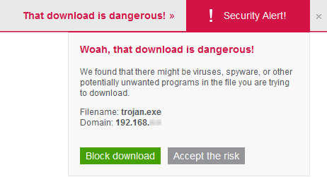 McAfee Internet Security 14.0 - Browser alert