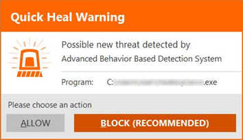 Quick Heal Total Security 16.0 - User-dependent malware alert
