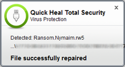 Quick Heal Total Security 16.0 - Malware alert
