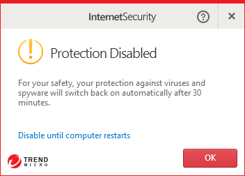 Trend Micro Internet Security 10.0 - Protection disabled