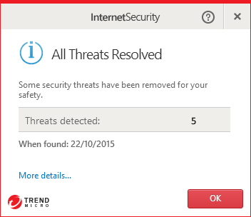 Trend Micro Internet Security 10.0 - Malware alert